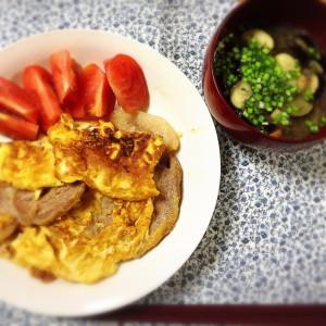 ポークピカタとお茄子のお味噌汁